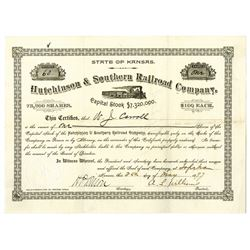 Hutchinson & Southern Railroad Co. 1897 I/U Stock Certificate