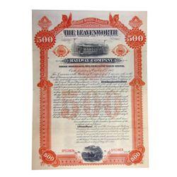 Leavenworth Railway Co., 1893 Specimen Gold Coupon Bond.