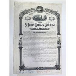 St. Louis, Kansas and Arizona Railway Co. 1880 Unique Progress Proof Bond, Production Proofs & Docum