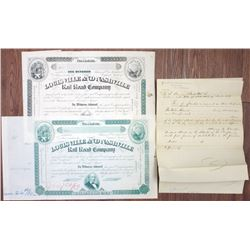 Louisville and Nashville Rail Road Co., 1880 Unique Approval Proof Stock Certificate Pair With Produ