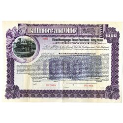 Baltimore and Ohio Railroad Co 1898 Specimen Bond Rarity With Overprint of Interest Rate Raised to 5