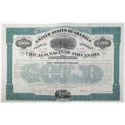 Chicago, Saginaw and Canada Railroad Co. 1873 Bond