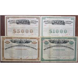 Michigan Central Railroad Co., (1880 Bond Designs Re-issued in 1900-1910) Specimen Bond Quartet