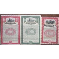 Pere Marquette Railway Co.,  1903 to 1930 Specimen Bond Trio