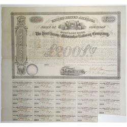 Port Huron and Milwaukee Railway Co. 1856 I/U Bond