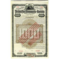 Saint Paul, Minneapolis and Manitoba Railway Co. 1883 Specimen Bond Re-issued Twice, Once in 1886 an