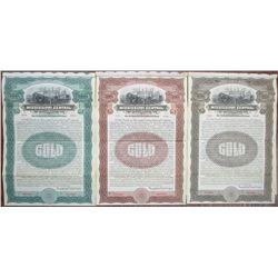 Mississippi Central Railroad Co. 1909 Specimen Bond Trio