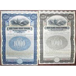 Rock Island-Frisco Terminal Railway Co. Specimen Bond Pair, ca. 1907-1927