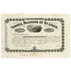 Tunnel Railroad of St. Louis, 1881 Unique Approval Proof Stock Certificate.