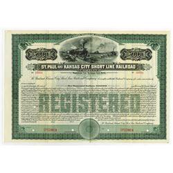 St. Paul and Kansas City Short Line Railroad Co., 1911 Specimen Registered Bond