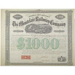 Montclair Railway Co. 1868 Bond Rarity
