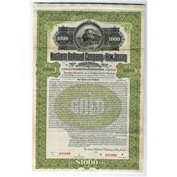 Northern Railroad Co. of New Jersey, 1900 Specimen Bond