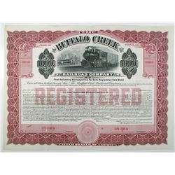 Buffalo Creek Railroad Co. 1910 Specimen Bond
