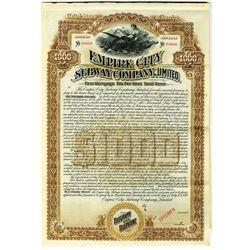 Empire City Subway Co., Ltd. 1892 Specimen Bond