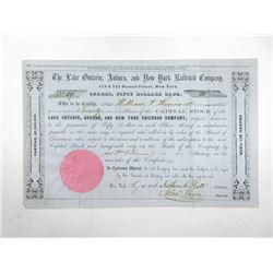 Lake Ontario, Auburn, and New York Railroad Co. 1856 I/U Stock Certificate