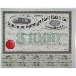 Lebanon Springs Rail Road Co. 1867 Bond Signed by Horace F. Clark