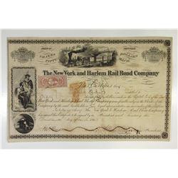 New York & Harlem Rail Road Co., 1863 50 Shrs I/C Capital Stock Certificate ITASB  F.W. Seward