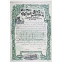 New York, Ontario and Western Railway Co. 1892 Specimen Bond