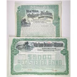 New York, Ontario and Western Railway Co., 1892-1900s Pair of Specimen Bonds