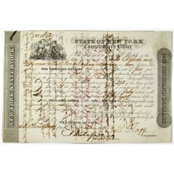 State of New York Comptrollers Office 1838 Issued Bond Payable to Auburn and Syracuse Rail Road Co.