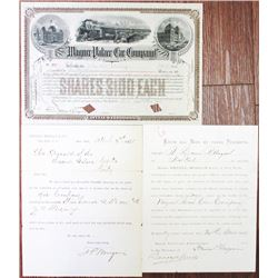 Wagner Palace Car Co. Stock Certificate Signed by William Seward Webb, Louisa P. Morgan Document, an