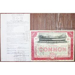 Hudson & Manhattan Railroad Co. 1925 Stock Certificate and Thomas J. Watson Sr. Signature Pair