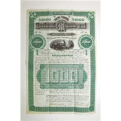 New York, Rutland and Montreal Railway Co. 1884 Bond