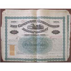 Cincinnati and Springfield Railway Co. 1871 Issued Bond Group of 25