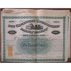 Cincinnati and Springfield Railway Co., 1871 Group of 25 Issued Bonds
