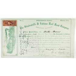 Steubenville & Indiana Rail Road Co. 1867 I/U Stock Certificate, Low S/N 2.