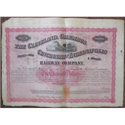 Cleveland, Columbus, Cincinnati and Indianapolis Railway Co. 1869 Issued Bond Group of 15