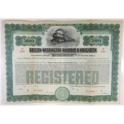 Oregon-Washington Railroad & Navigation Co. 1911 Specimen Bond.