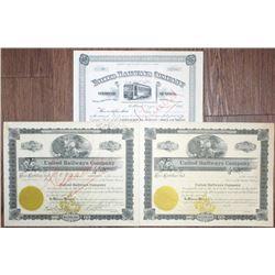United Railways Co.1906 to 1920 Stock Certificate Trio.