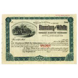 Bloomsberg and Millville Street Railway Co., ca.1900-1910 Specimen Stock Certificate
