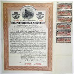 Pittsburgh & Shawmut Railroad Co. 1914 Specimen Bond Rarity