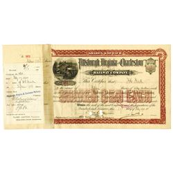 Pittsburgh, Virginia and Charleston Railway Co. 1901 Stock Certificate Issued to Henry Clay Frick