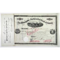 Wilmington and Northern Rail Road Co. 1881. I/C Stock Certificate.