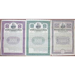 Philadelphia, Baltimore and Washington Railroad Co. Specimen Bond Trio Rarity
