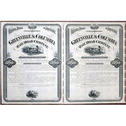 Greenville & Columbia Rail Road Co. 1875 Unissued Bond Pair