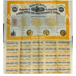 Lamoille Valley, Montpellier & St. Johnsbury & Essex County Rail Road Co., 1871 I/U Bond with Imprin