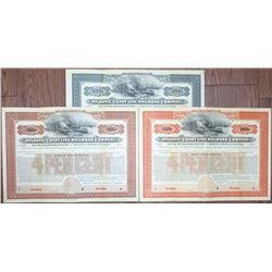 "Atlantic Coast Line Railroad Co., 1902 ""Louisville & Nashville"" Unlisted Specimen Bond Trio."