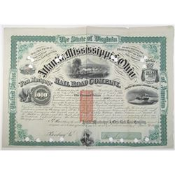 Atlantic, Mississippi & Ohio Rail Road Co. 1871 Bond Signed by William Mahone with Imprinted USIR Re