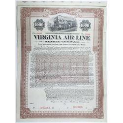 Virginia Air Line Railway Co. 1907 Specimen Bond Rarity