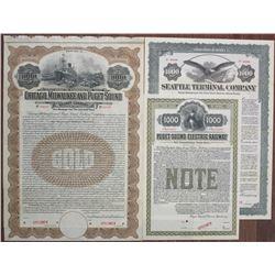 Washington State Railroad Bond Trio, ca.1907 to 1915