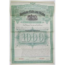 Spokane Falls and Idaho Railroad Co., 1887 Specimen Bond Rarity.