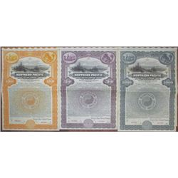 Northern Pacific Railway Co., 1922 Specimen Bond Trio