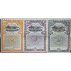 Northern Pacific Railway Co., 1922 Specimen Bond Trio