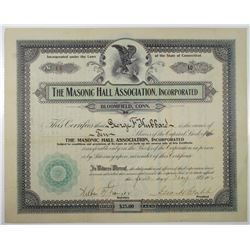 Masonic Hall Association, Inc. 1912 I/U Stock Certificate