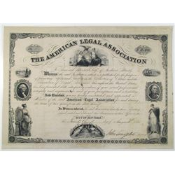 American Legal Association 1851 Issued Membership Certificate