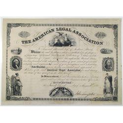 American Legal Association 1851 Issued Membership Certificate